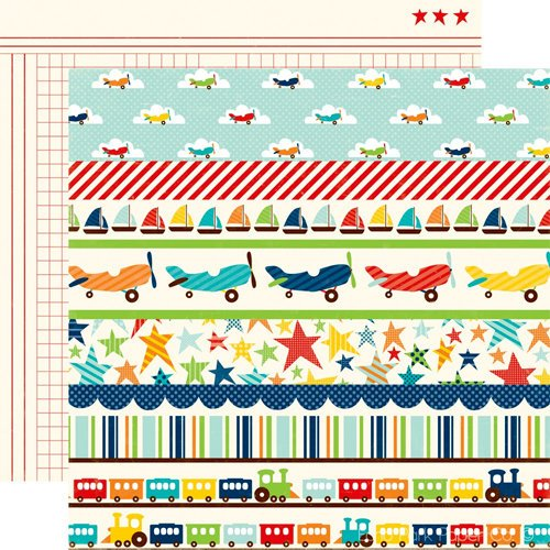 Echo Park - Little Boy Collection - 12 x 12 Double Sided Paper - Little Boy Borders