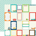 Echo Park - Little Boy Collection - 12 x 12 Double Sided Paper - Journaling Cards