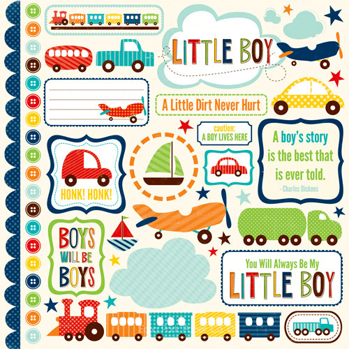 Echo Park - Little Boy Collection - 12 x 12 Cardstock Stickers - Elements
