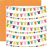 Echo Park - Little Girl Collection - 12 x 12 Double Sided Paper - Laundry Lucy