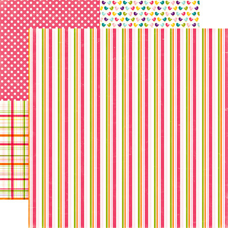Echo Park - Little Girl Collection - 12 x 12 Double Sided Paper - Jody's Stripe, CLEARANCE
