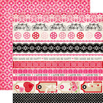 Echo Park - Love Story Collection - 12 x 12 Double Sided Paper - Border Strips