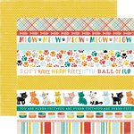 Echo Park - Meow Collection - 12 x 12 Double Sided Paper - Cat Border Strips