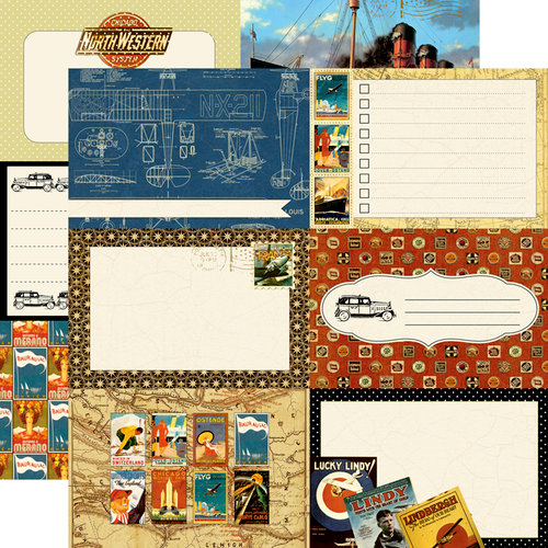 Echo Park - Graphic 45 - Transatlantique Collection - 12 x 12 Double Sided Paper - Blueprint