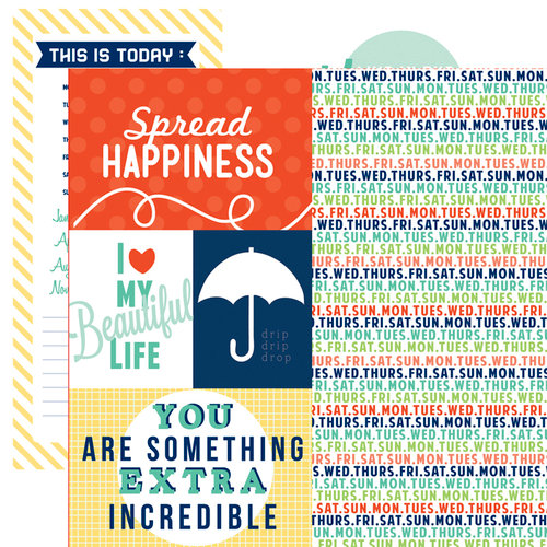 Echo Park - Happy Go Lucky Collection - 12 x 12 Double Sided Paper - Spread Happiness