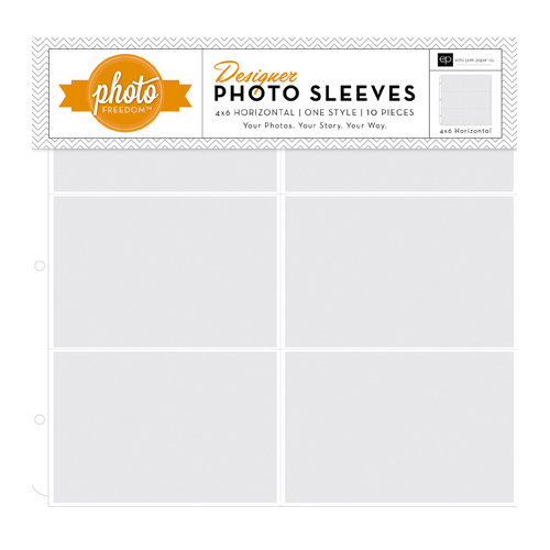 Echo Park - Photo Freedom - 12 x 12 Designer Photo Sleeves - 4 x 6 Horizontal Pockets - 10 Pack
