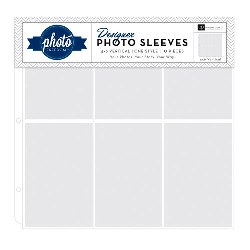 Echo Park - Photo Freedom - 12 x 12 Designer Photo Sleeves - 4 x 6 Vertical Page Protectors - 10 Pack