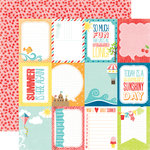 Echo Park - A Perfect Summer Collection - 12 x 12 Double Sided Paper - 3 x 4 Journaling Cards