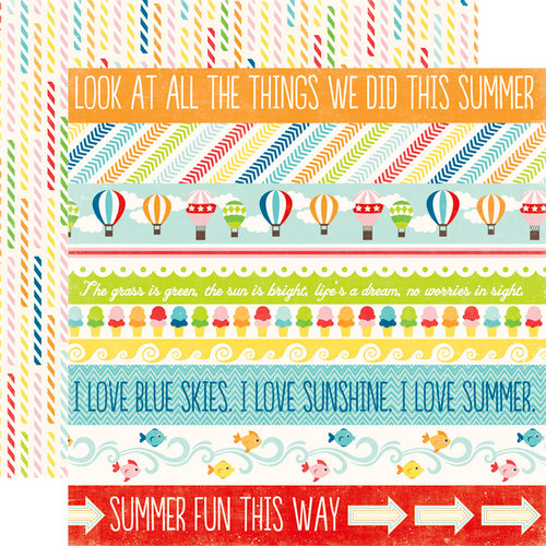 Echo Park - A Perfect Summer Collection - 12 x 12 Double Sided Paper - Border Strips