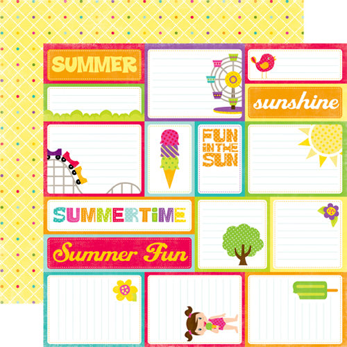 Echo Park - Summer Days Collection - 12 x 12 Double Sided Paper - Journaling Cards