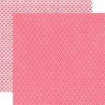 Echo Park - Runway Collection - 12 x 12 Double Sided Paper - Dark Pink Quatrefoil