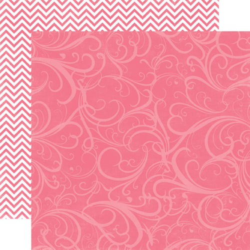 Echo Park - Runway Collection - 12 x 12 Double Sided Paper - Dark Pink Flourish