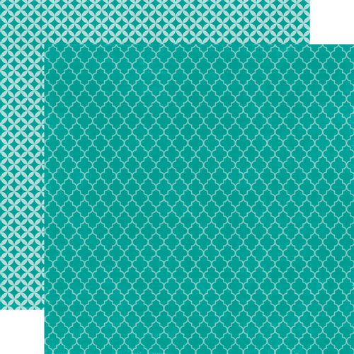 Echo Park - Upscale Collection - 12 x 12 Double Sided Paper - Dark Teal Quatrefoil