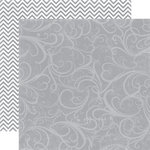 Echo Park - Upscale Collection - 12 x 12 Double Sided Paper - Grey Flourish