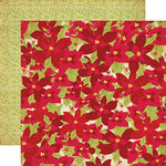 Echo Park - Season's Greetings Collection - Christmas - 12 x 12 Double Sided Paper - Poinsettias