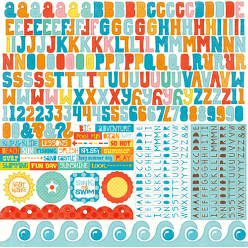 Echo Park - Splash Collection - 12 x 12 Cardstock Stickers - Alphabet