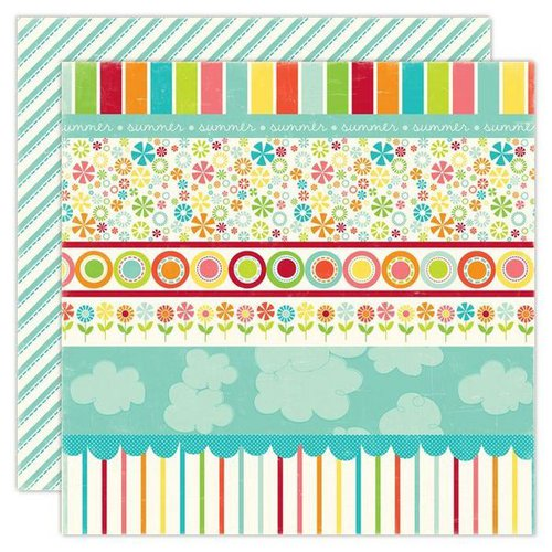 Echo Park - Sweet Summertime Collection - 12 x 12 Double Sided Paper - Sunny Days Border Strips, CLEARANCE
