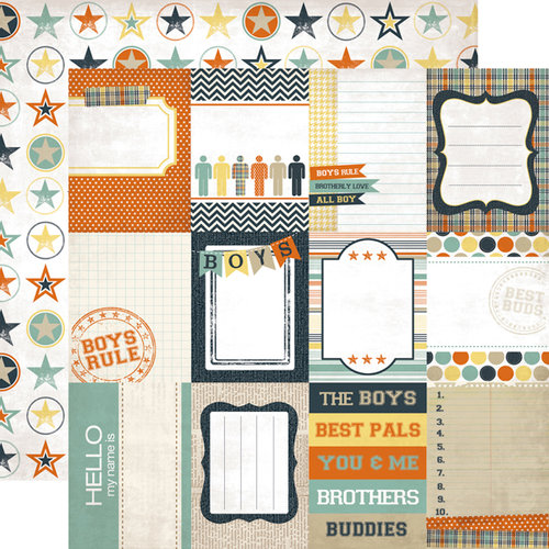 Echo Park - Brothers Collection - 12 x 12 Double Sided Paper - Journaling Cards