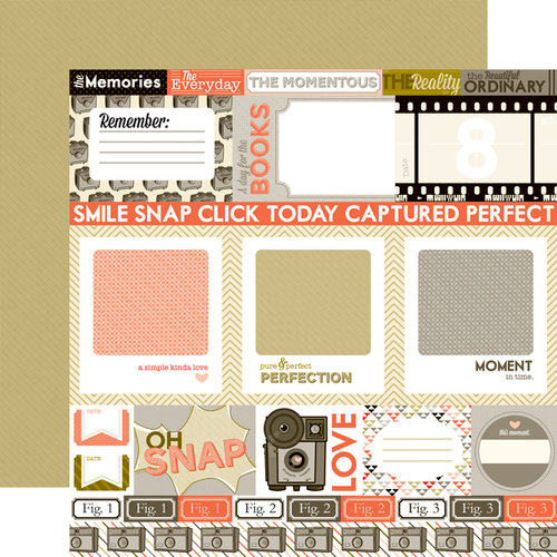 Echo Park - Oh, Snap Collection - 12 x 12 Double Sided Paper - Journaling Cards
