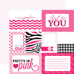 Echo Park - Pretty in Pink Collection - 12 x 12 Double Sided Paper - Pink Journaling