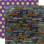Echo Park - Ghost Town Collection - Halloween - 12 x 12 Double Sided Paper - Words
