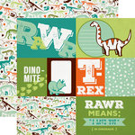 Echo Park - Dinosaur Adventure Collection - 12 x 12 Double Sided Paper - Journaling Cards