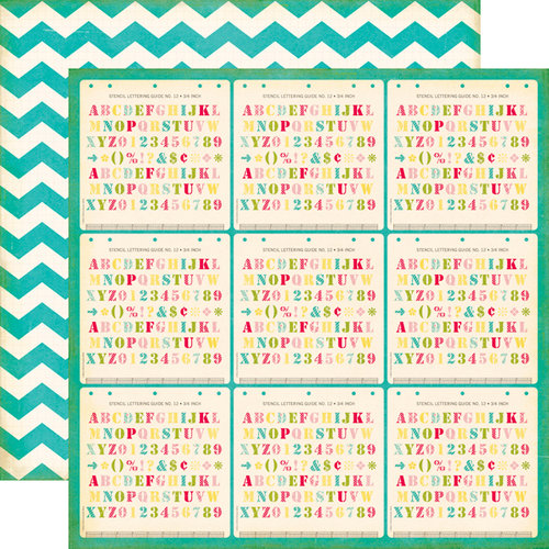 Echo Park - Sweet Girl Collection - 12 x 12 Double Sided Paper - Lettering Stencils