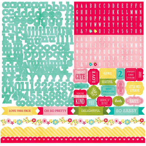 Echo Park - Sweet Girl Collection - 12 x 12 Cardstock Stickers - Alphabet
