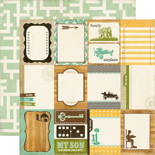 Echo Park - This and That Collection - Charming - 12 x 12 Double Sided Paper - Journaling Cards
