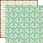 Echo Park - This and That Collection - Graceful - 12 x 12 Double Sided Paper - Teal Damask