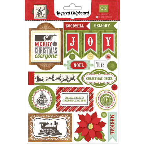 Echo Park - This and That Collection - Christmas - Layered Chipboard Stickers