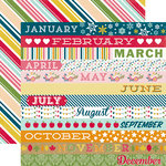 Echo Park - Through The Year Collection - 12 x 12 Double Sided Paper - Month Border Strips