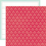 Echo Park - Through The Year Collection - 12 x 12 Double Sided Paper - Red Damask