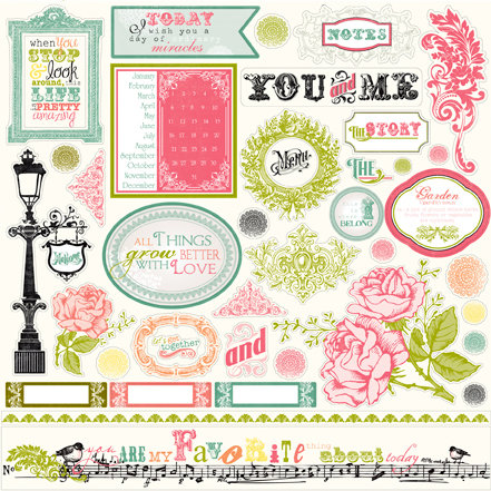 Echo Park - Victoria Garden Collection - 12 x 12 Cardstock Stickers - Elements