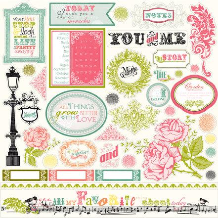 Echo Park - Victoria Garden Collection - 12 x 12 Cardstock Stickers - Elements