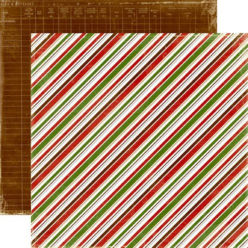 Echo Park - A Very Merry Christmas Collection - 12 x 12 Double Sided Paper - Diagonal Stripe