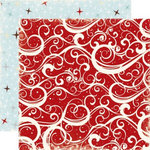 Echo Park - Wintertime Collection - 12 x 12 Double Sided Paper - Red Swirls