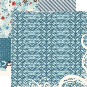 Echo Park - Wintertime Collection - 12 x 12 Double Sided Paper - Damask, CLEARANCE