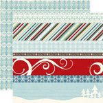 Echo Park - Wintertime Collection - 12 x 12 Double Sided Paper - Borders, CLEARANCE