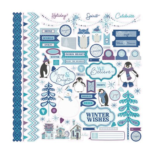 Echo Park - Winter Wishes Collection - 12 x 12 Cardstock Stickers - Elements