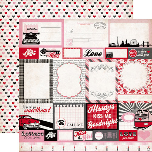 Echo Park - Yours Truly Collection - 12 x 12 Double Sided Paper - Journaling Cards