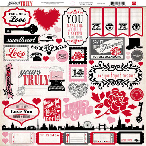 Echo Park - Yours Truly Collection - 12 x 12 Cardstock Stickers - Elements
