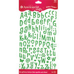 EK Success - American Girl Crafts - Glitter Stickers - Tiny Letters - Lime