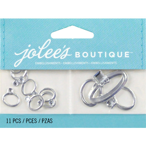 EK Success - Jolee's by You Redux - 3 Dimensional Embellishments with Foil and Gem Accents - Wedding Rings