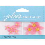EK Success - Jolee's by You Redux - 3 Dimensional Embellishments - Light Red Flowers with Yellow Centers
