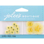 EK Success - Jolee's by You Redux - 3 Dimensional Embellishments with Gem Accents - Yellow Vellum Daisies