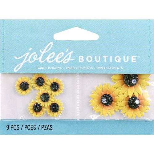 EK Success - Jolee's by You Redux - 3 Dimensional Embellishments with Gem Accents - Mini Sunflowers