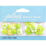 EK Success - Jolee's by You Redux - 3 Dimensional Embellishments with Gem Accents - Green Cherry Blossoms