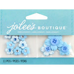 EK Success - Jolee's by You Redux - 3 Dimensional Embellishments with Gem Accents - Light Blue Cherry Blossoms with Button Centers