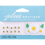 EK Success - Jolee's by You Redux - 3 Dimensional Embellishments with Gem Accents - Mini White Daisies
